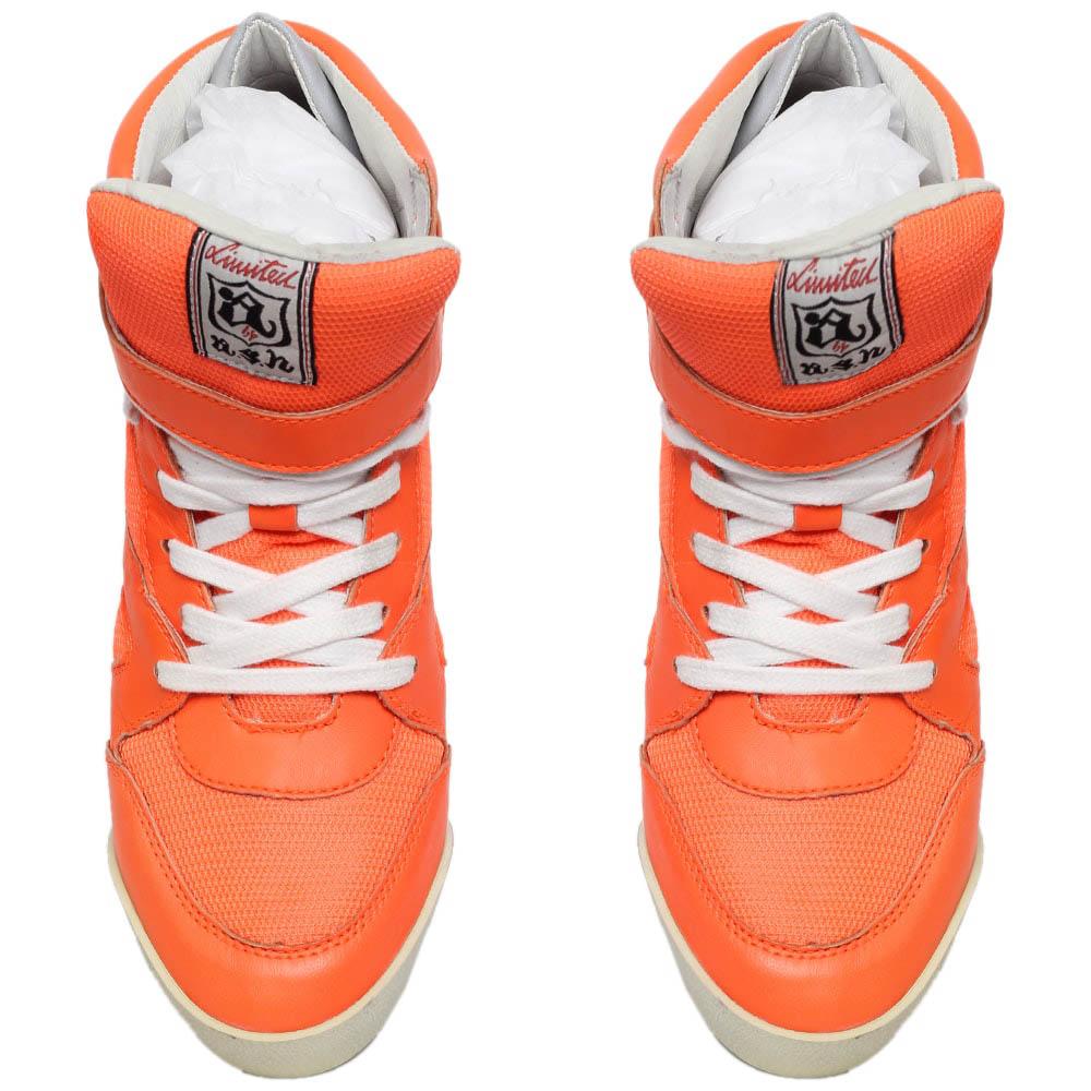 Сникерсы из кожи и текстиля оранжевого цвета ASH