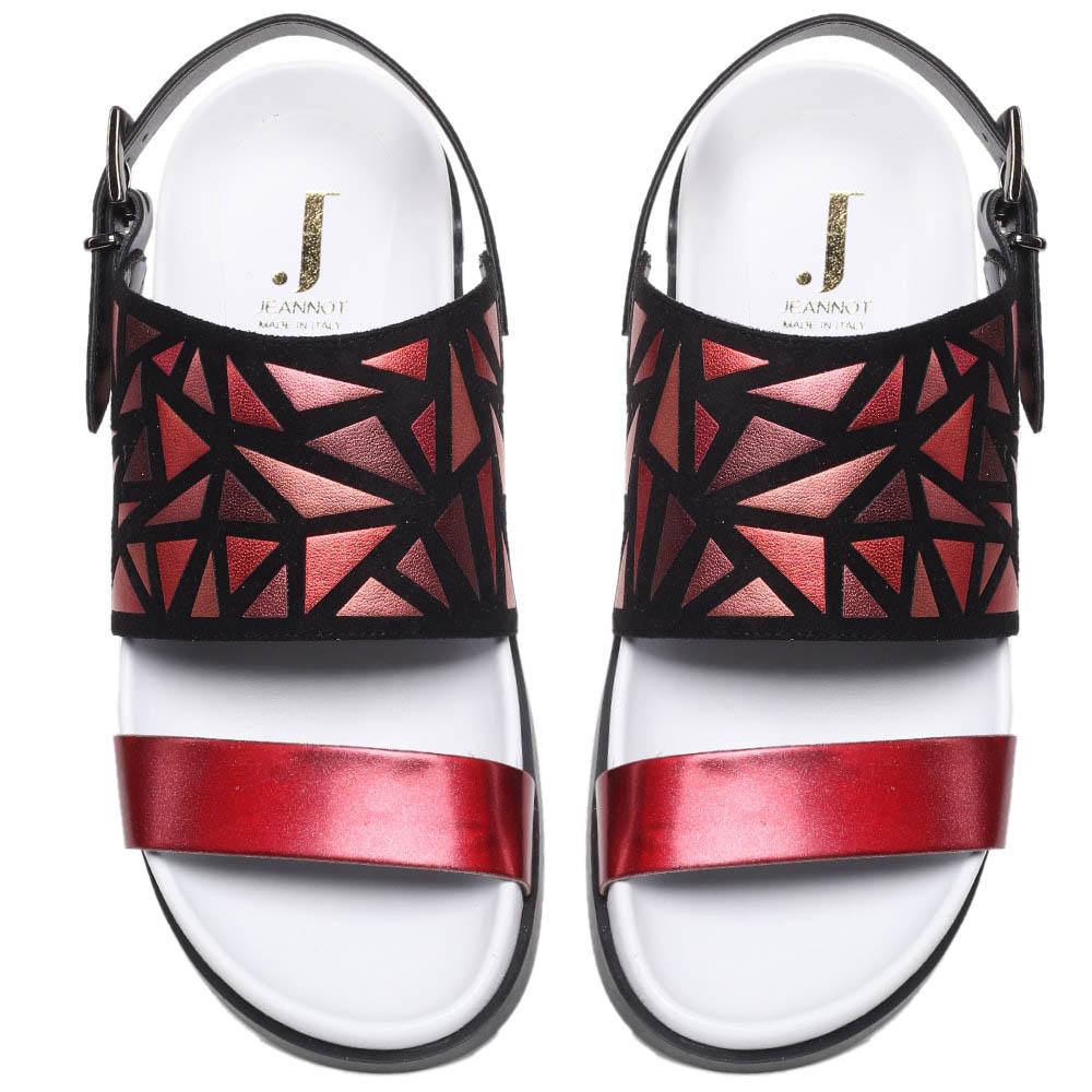 Кожаные босоножки красного цвета с замшевыми деталями Jeannot на толстой подошве