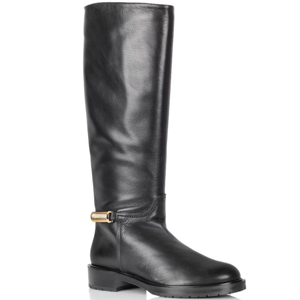 Зимние кожаные сапоги Dyva черного цвета на низком ходу