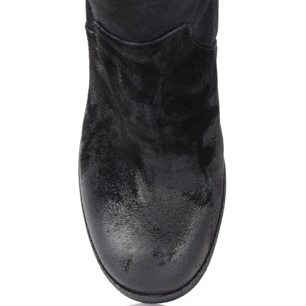 Высокие сапоги Fru.It из натуральной замши черного цвета с эффектом потертости