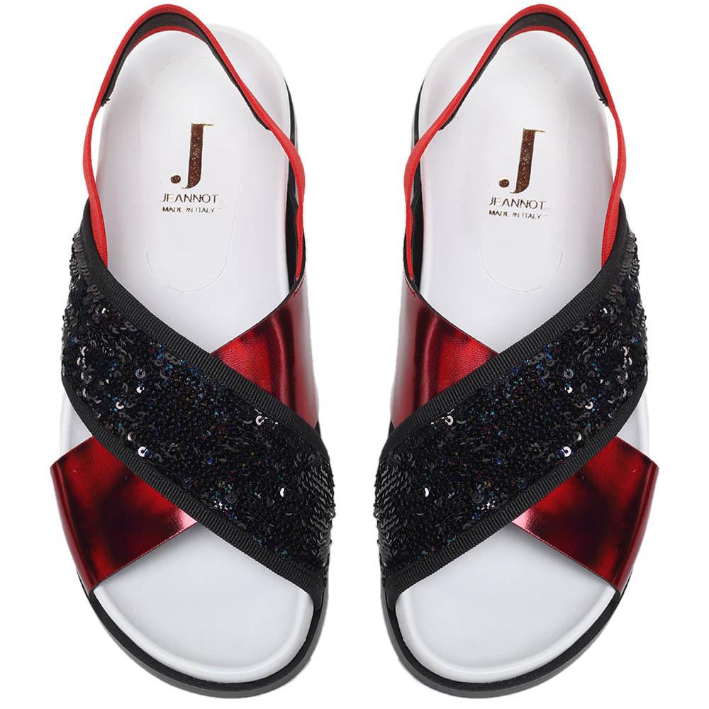 Сандалии из кожи и текстиля украшенного глиттером Jeannot красного цвета на резинке