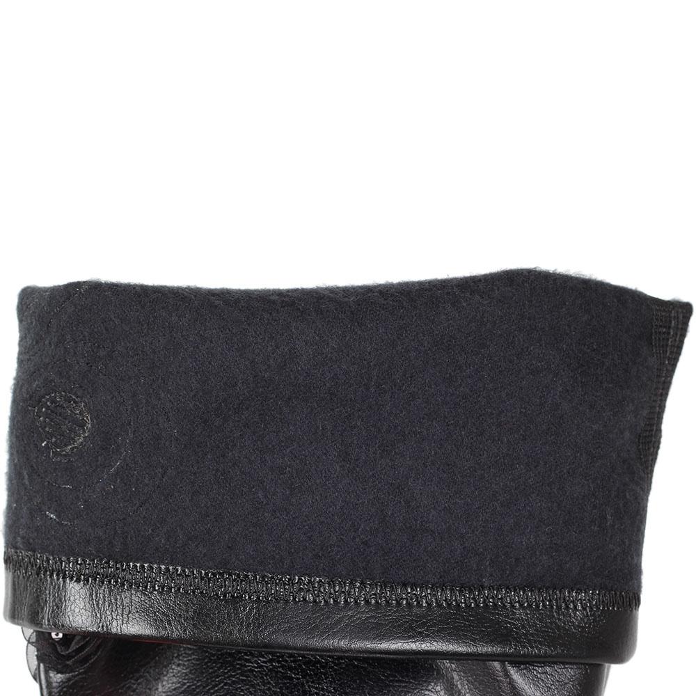 Кожаные сапоги Mimmu черного цвета с текстильным декором