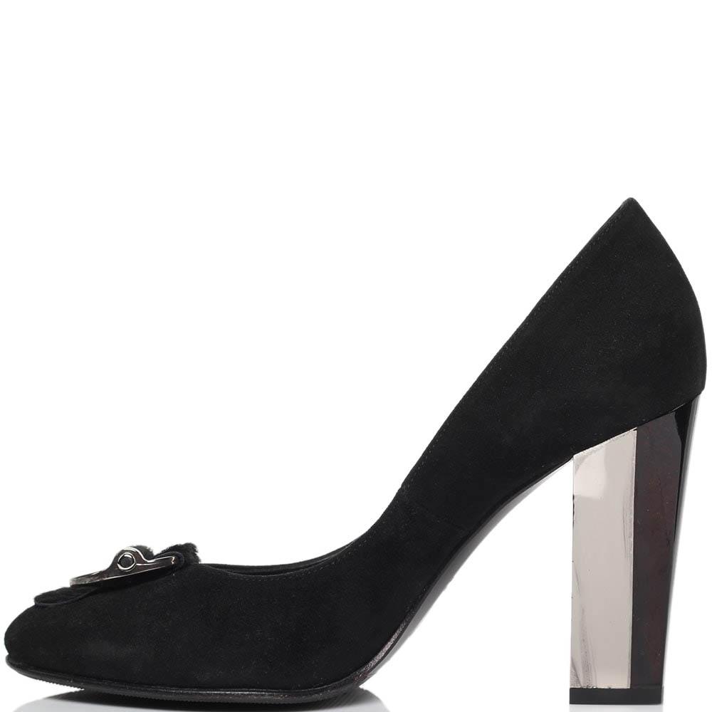 Замшевые туфли черного цвета ICONE на устойчивом каблуке