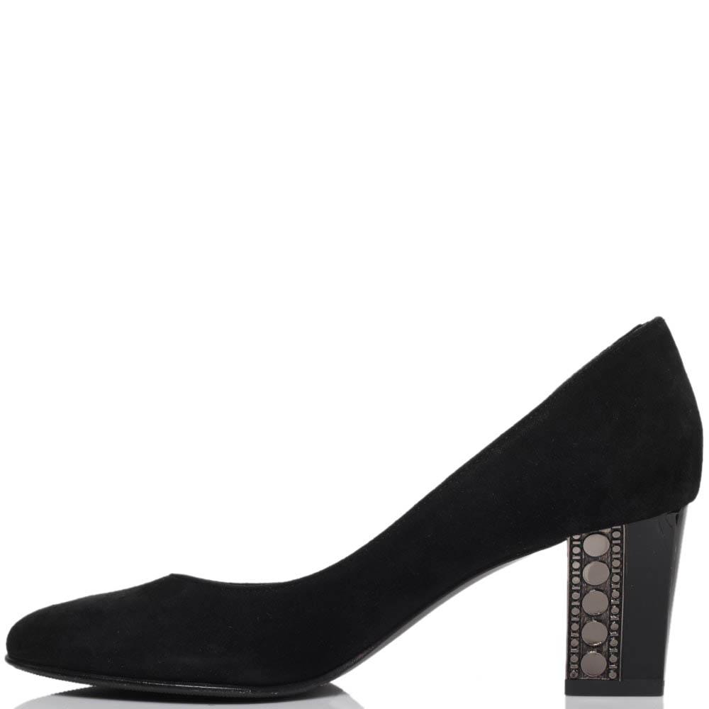 Туфли из замши черного цвета ICONE на устойчивом каблуке