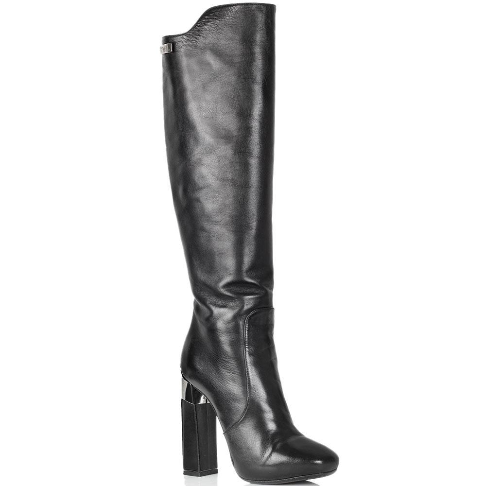 Кожаные сапоги Twice черного цвета на высоком каблуке