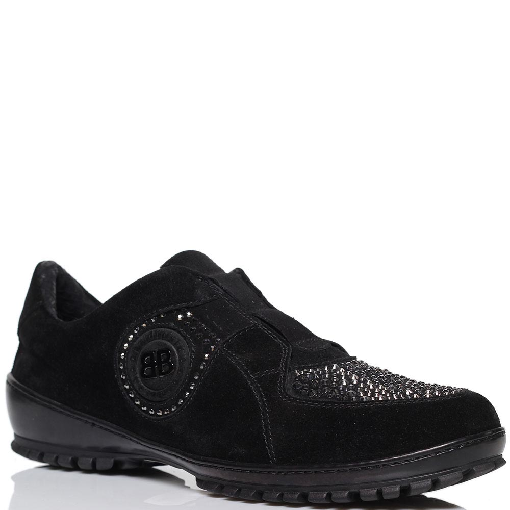 Замшевые кроссовки черного цвета на резинке Baldinini украшенные стразами