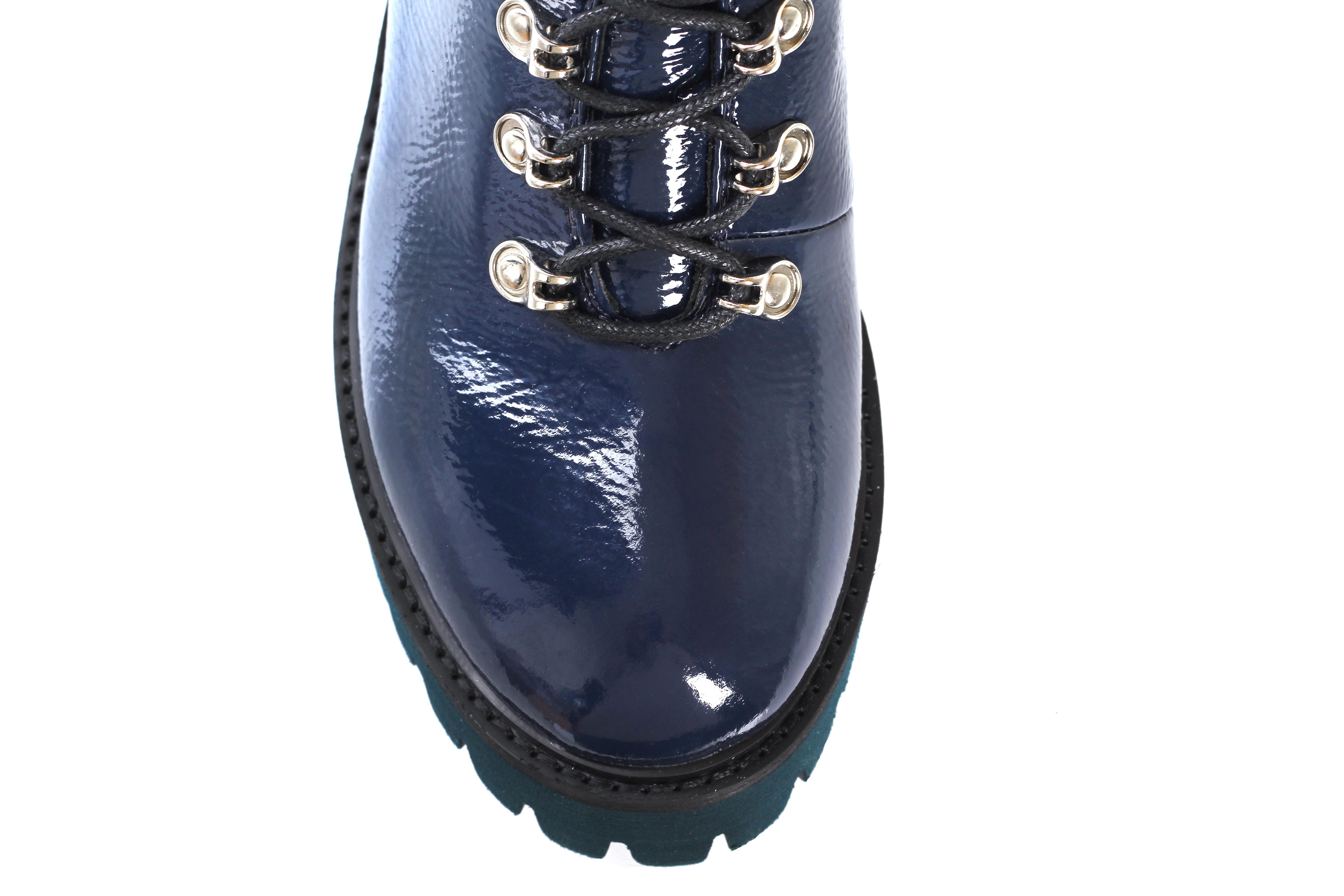 Синие лаковые ботинки Massimo Santini на шнуровке с мехом