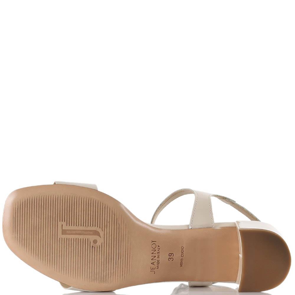 Бежевые босоножки Jeannot на низком устойчивом каблуке