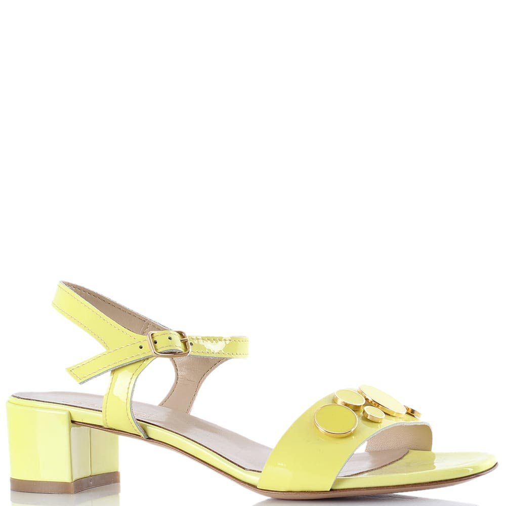 Желтые яркие босоножки Jeannot на низком толстом каблуке