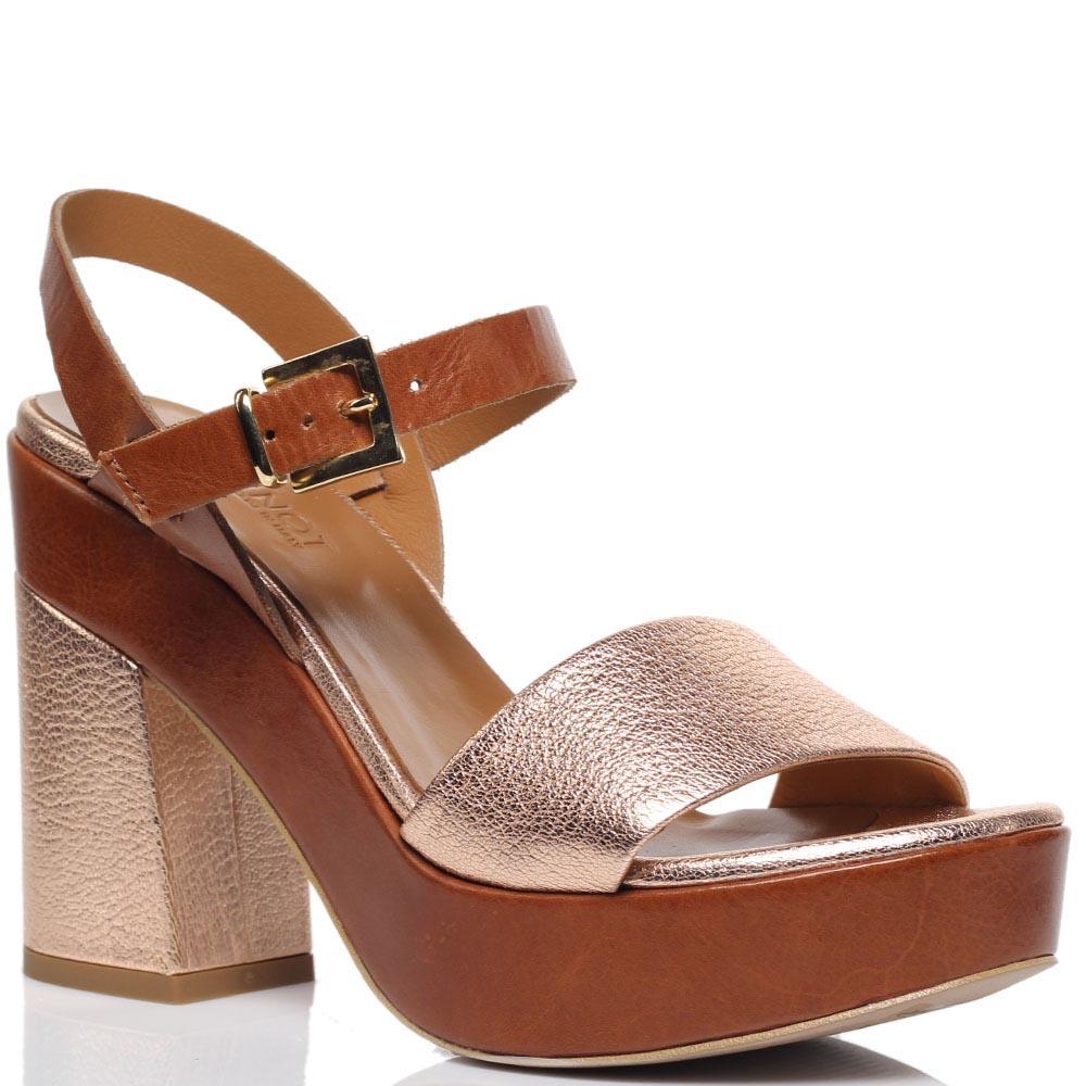 Босоножки из кожи золотистого цвета Jeannot на толстом каблуке и платформе