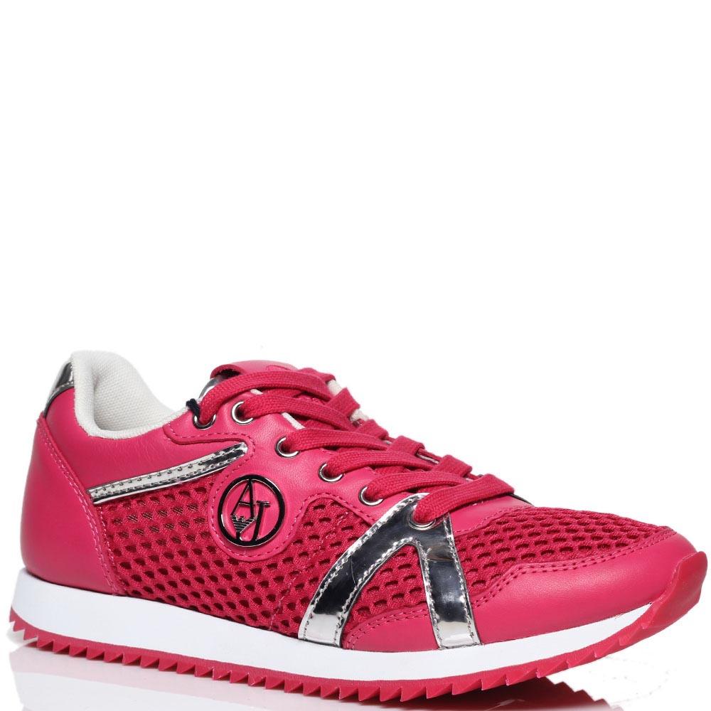 Кожаные кроссовки розового цвета с текстильными вставками Armani Jeans