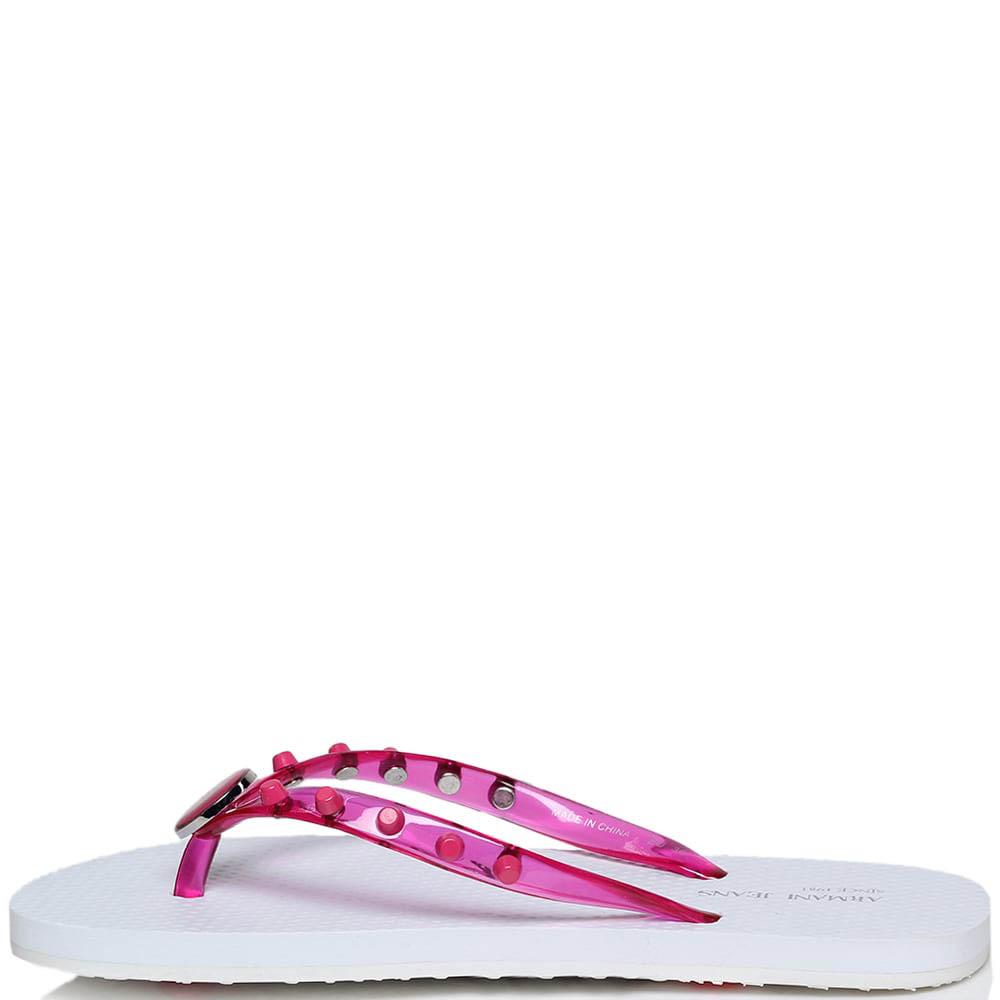 Сланцы из силикона розового цвета Armani Jeans с декором в виде заклепок