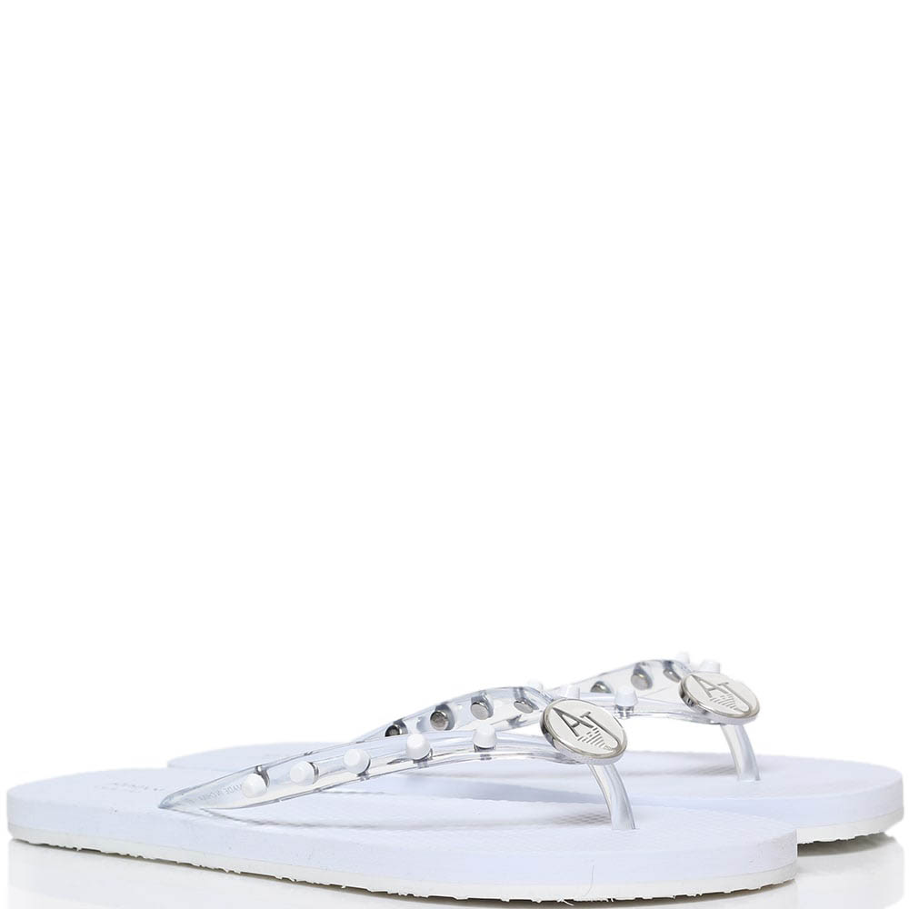 Сланцы из силикона белого цвета Armani Jeans с декором в виде заклепок