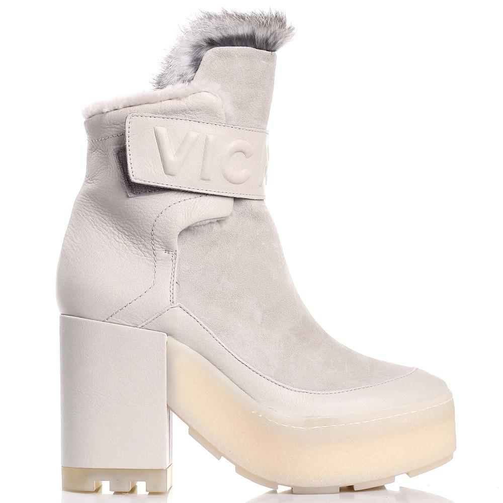 Высокие зимние ботинки Vic Matie бежевого цвета