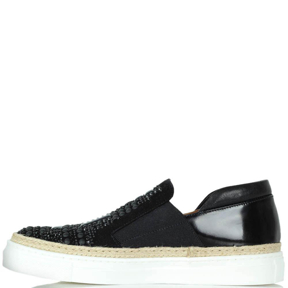 Кожаные слипоны Laura Bellariva черного цвета на белой подошве