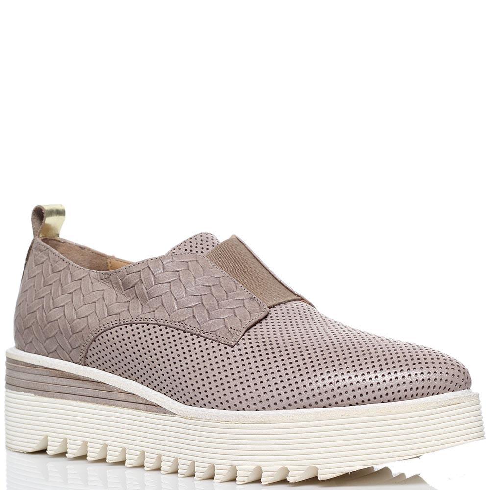 Кожаные туфли-броги бежевого цвета с перфорацией Laura Bellariva на толстой подошве