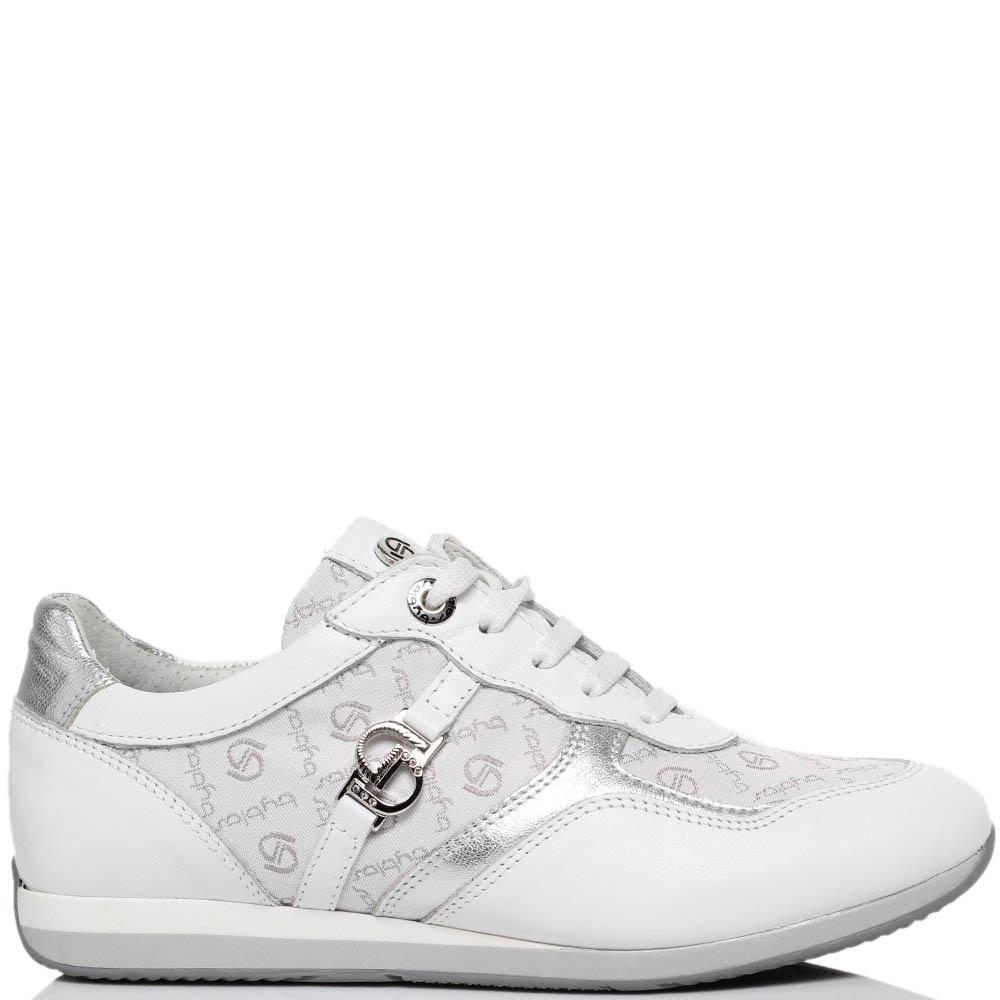 Кожаные кроссовки белого цвета Byblos