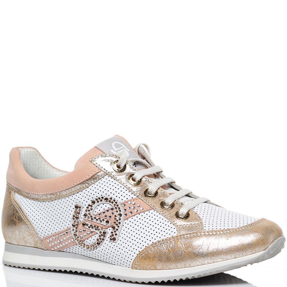 Белые кроссовки из перфорированной кожи с золотистыми и розовыми деталями Byblos