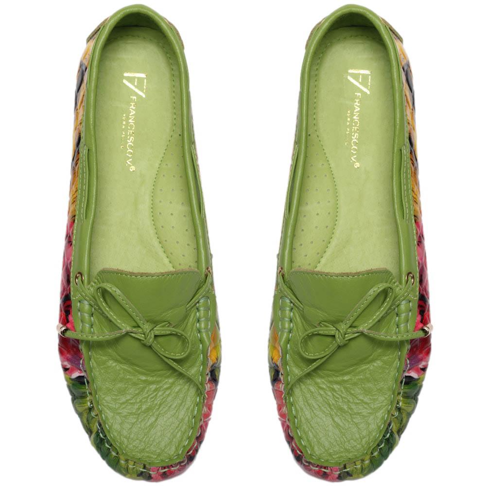 Кожаные мокасины зеленого цвета Francesco Valeri с цветочным принтом