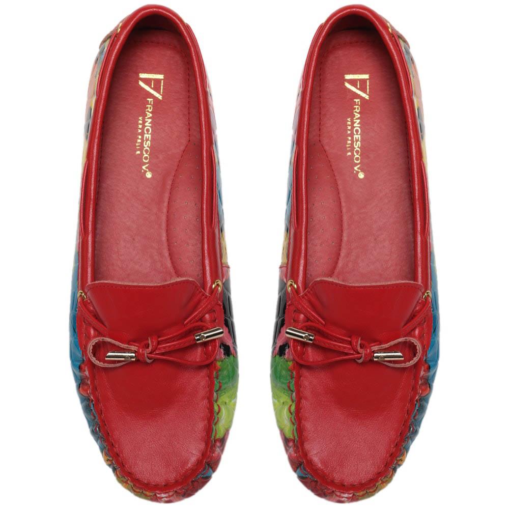 Кожаные мокасины красного цвета с цветочным принтом Francesco Valeri