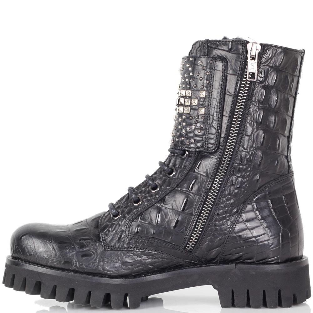 Зимние ботинки Richmond из натуральной кожи черного цвета с фактурой кроко