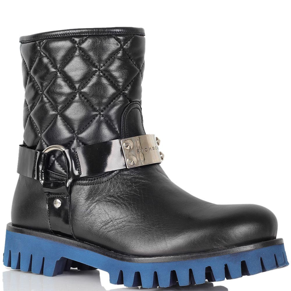 Кожаные ботинки Richmond черного цвета на толстой синей подошве