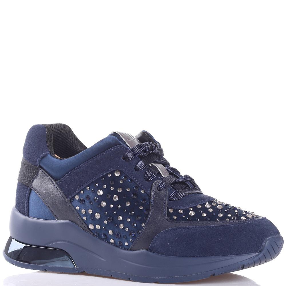 Замшевые кроссовки Liu Jo с декором-стразами