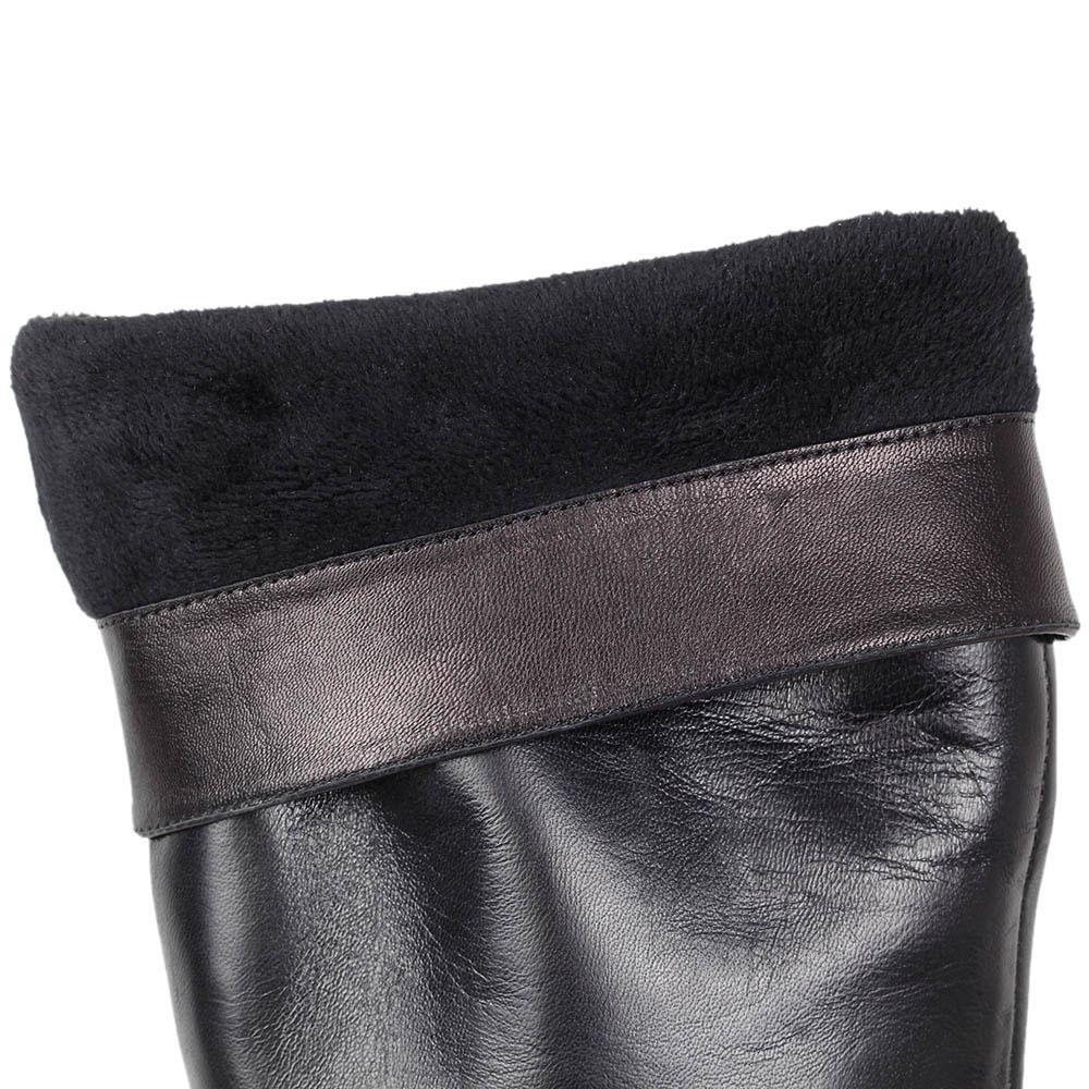 Зимние сапоги Massimo Santini из натуральной кожи черного цвета с округлым носочком