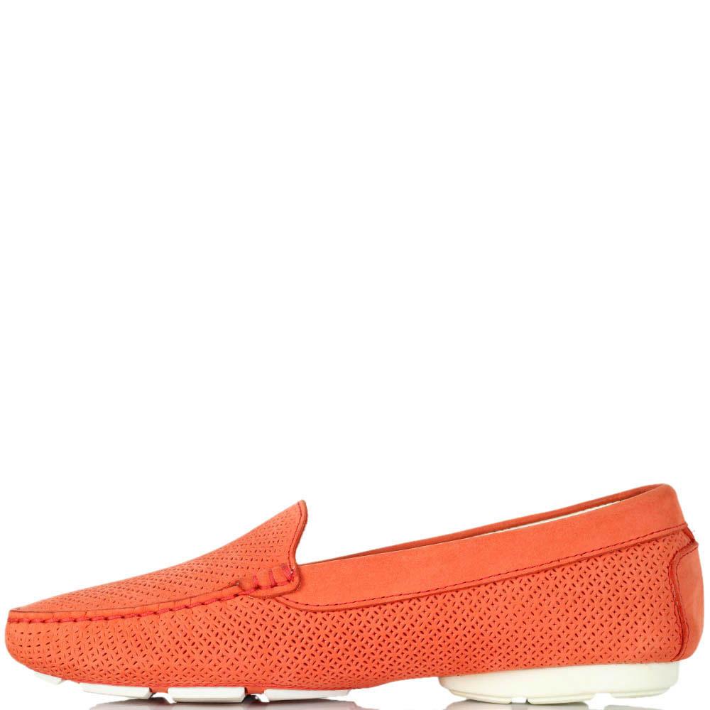Мокасины Luca Guerrini из нубука оранжевого цвета