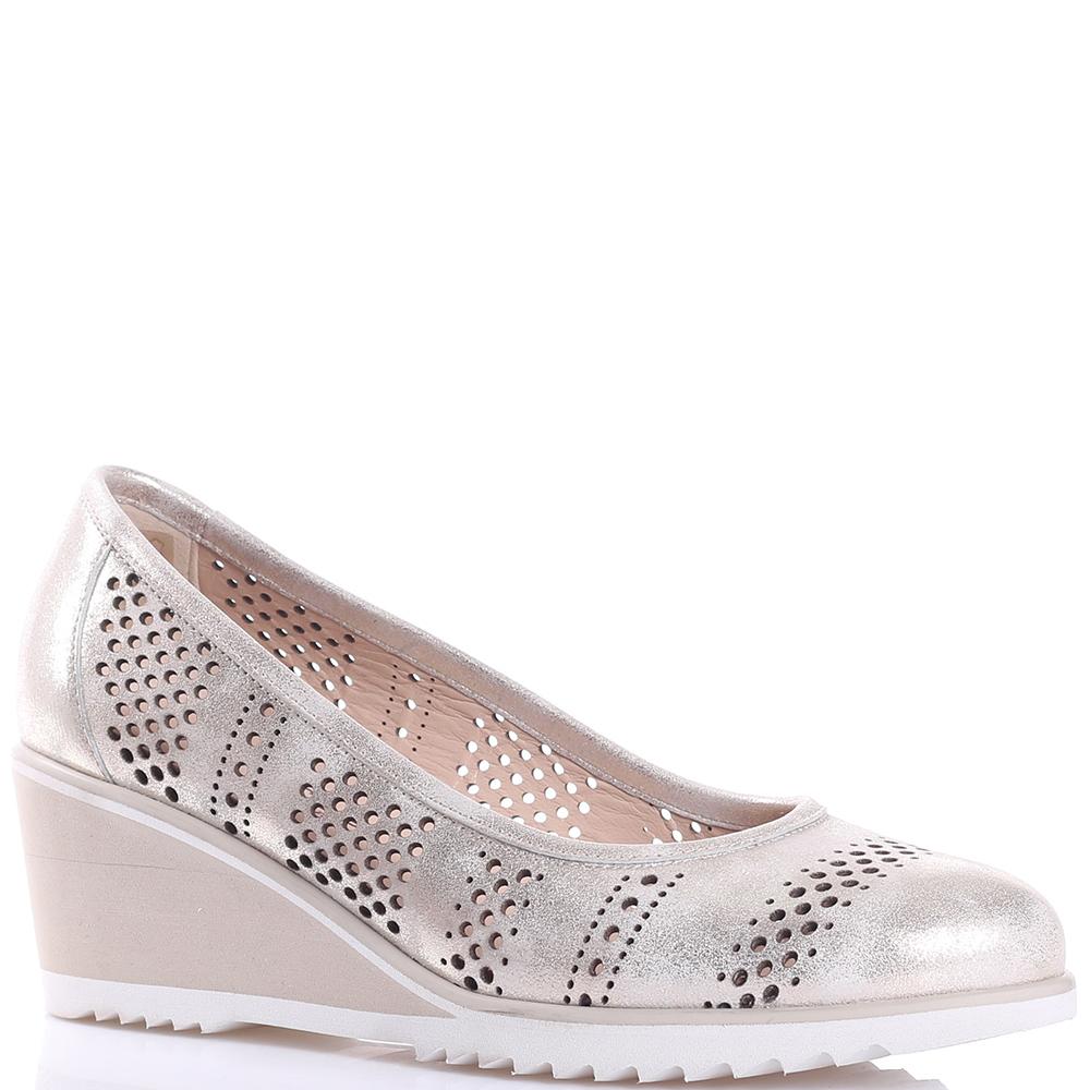 Золотистые туфли Mot-Cle с перфорацией