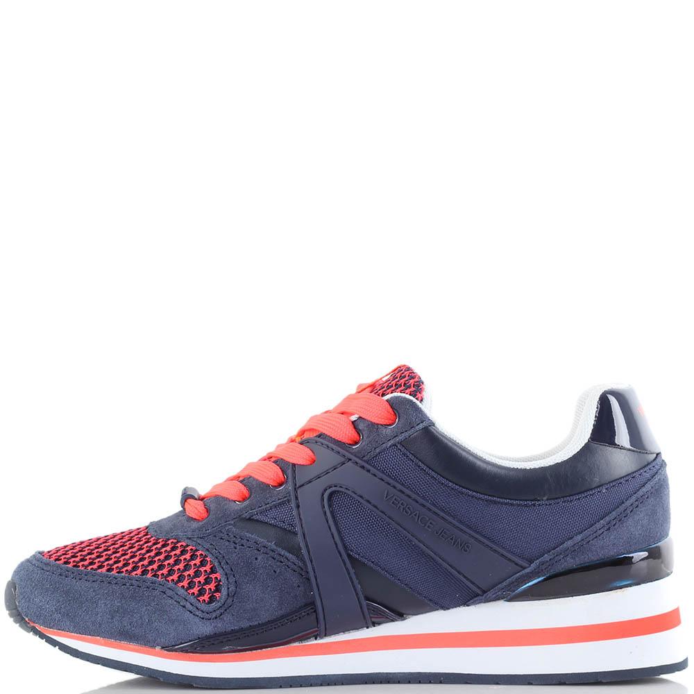 Синие кроссовки Versace Jeans с красной шнуровкой и кантом на подошве