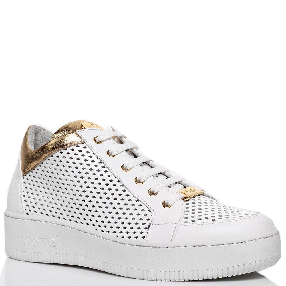 Кеды из перфорированной кожи белого цвета с золотистыми деталями Lonvie на шнуровке