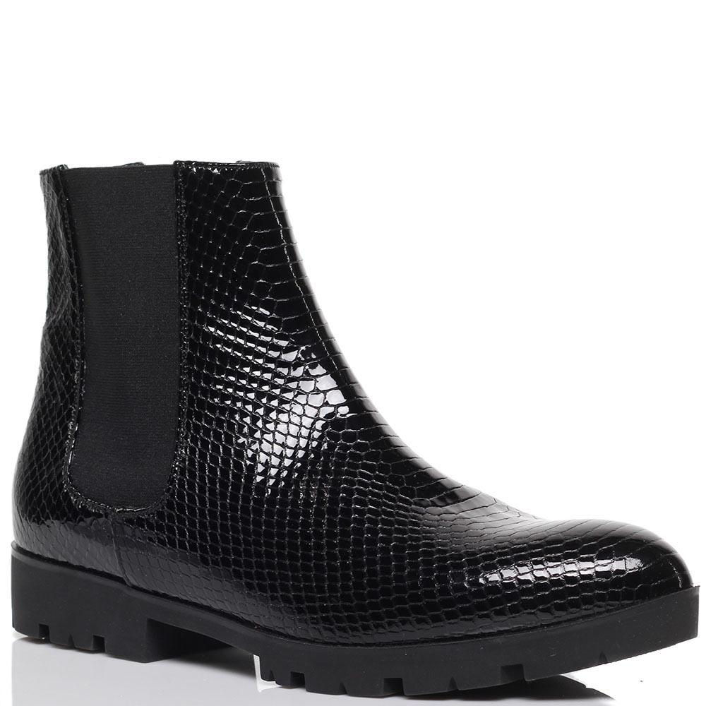 Ботинки из лаковой кожи черного цвета с тиснением под змею Albano на резинках