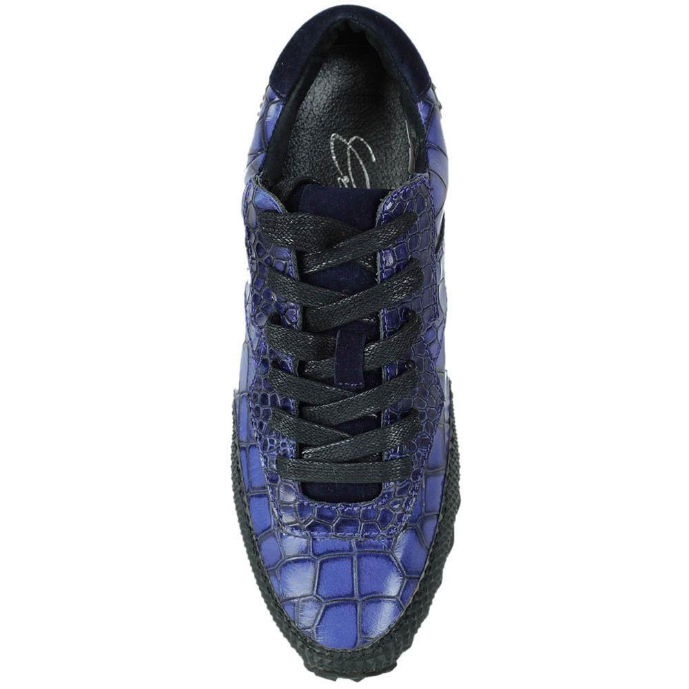 Кроссовки Logan Crossing из натуральной кожи синего цвета с тиснением кроко