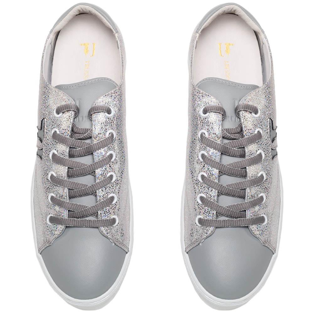 Кеды из кожи серого цвета перламутрового текстиля Trussardi Jeans на толстой подошве