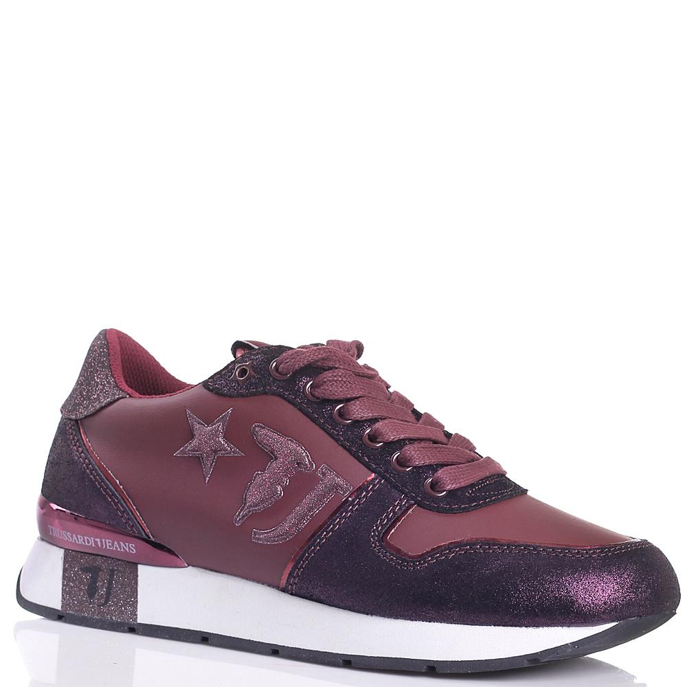 Кроссовки Trussardi Jeans цвета бургунди с фиолетовыми вставками