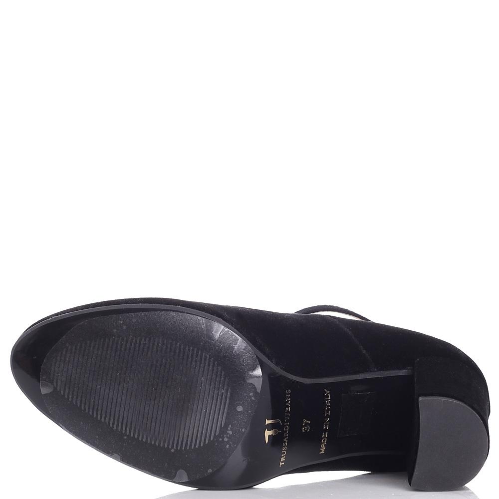 Велюровые туфли Trussardi Jeans на толстом каблуке