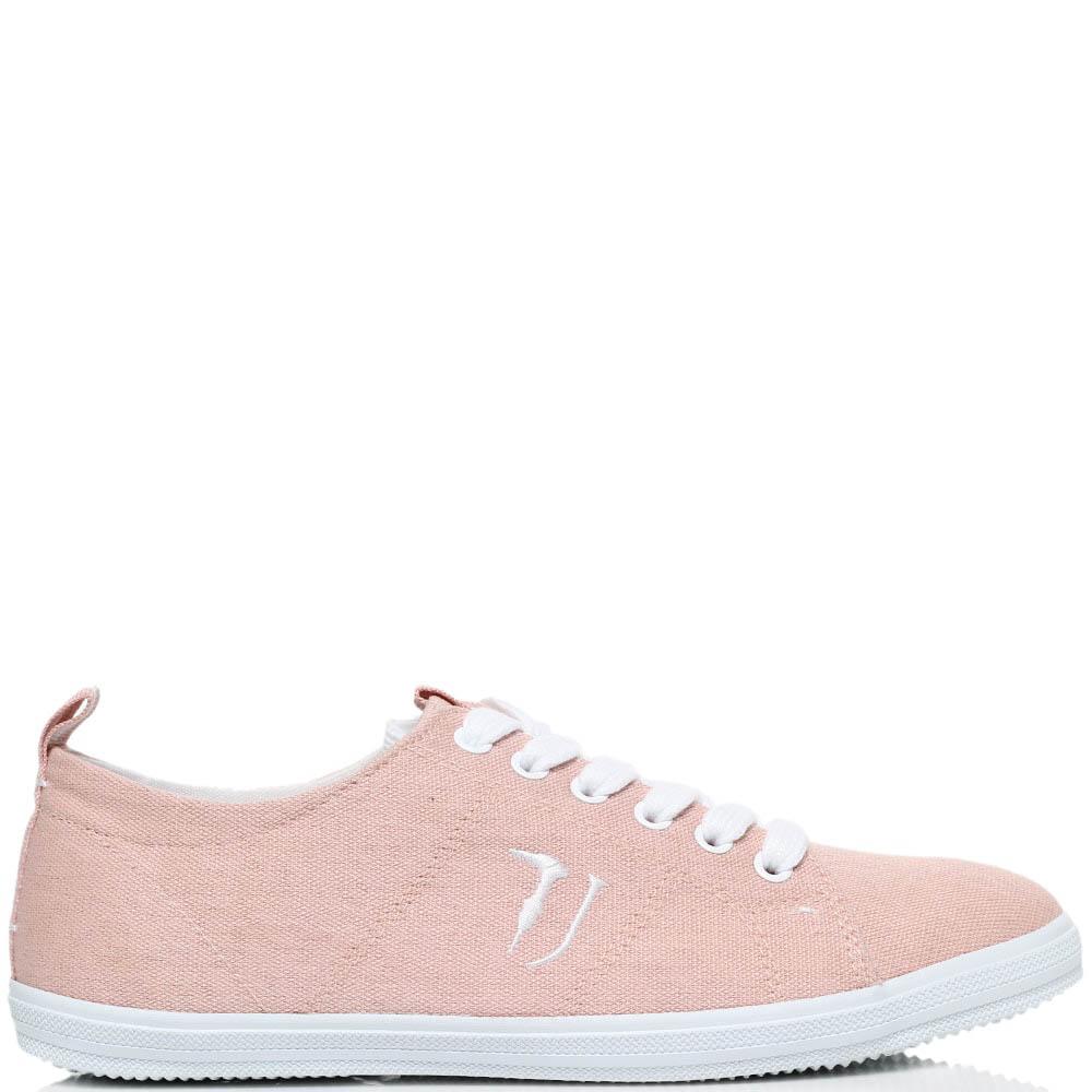 Кеды из текстиля розового цвета Trussardi Jeans