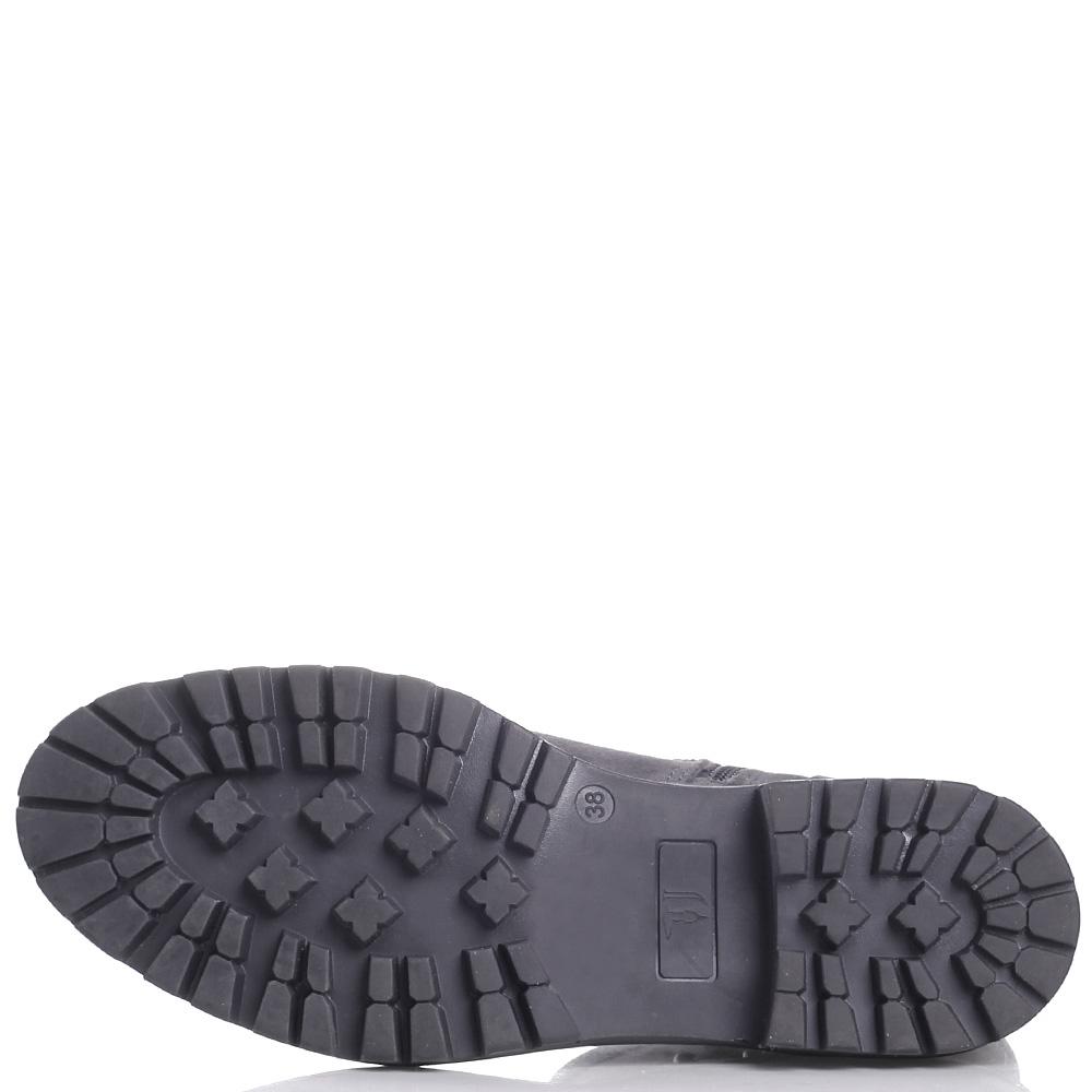 Замшевые ботинки Trussardi Jeans серого цвета на толстой подошве