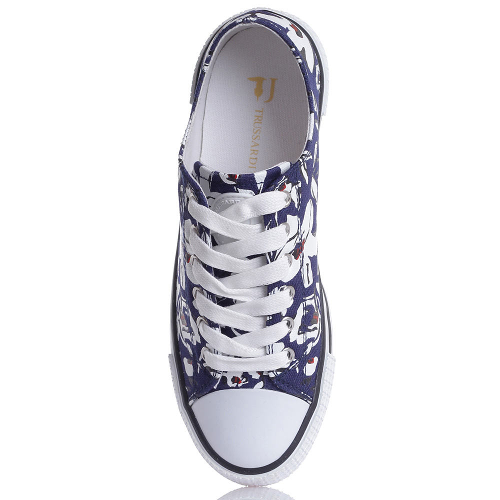 Синие кеды Trussardi Jeans с цветочным принтом