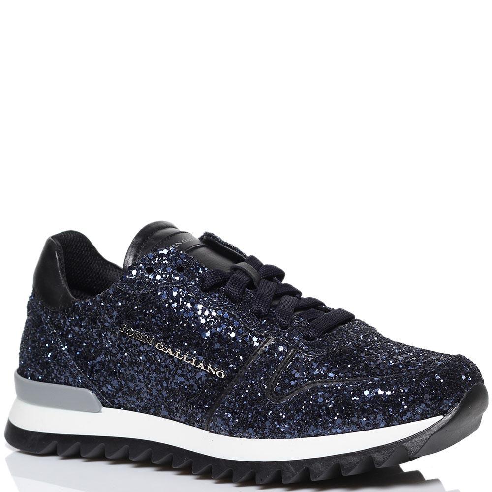 Кроссовки из текстиля синего цвета Galliano декорированные глиттером