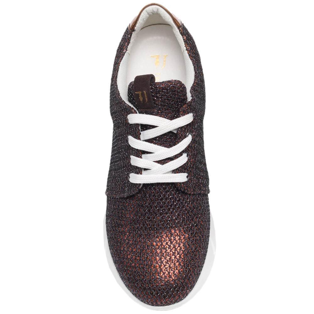 Замшевые кроссовки коричневого цвета Trussardi Jeans расшитые пайетками