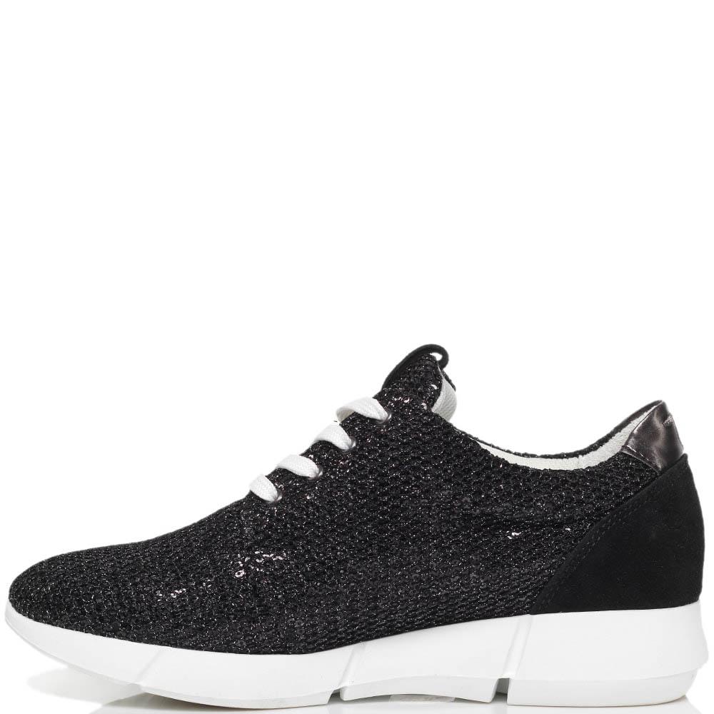 Замшевые кроссовки черного цвета Trussardi Jeans расшитые пайетками
