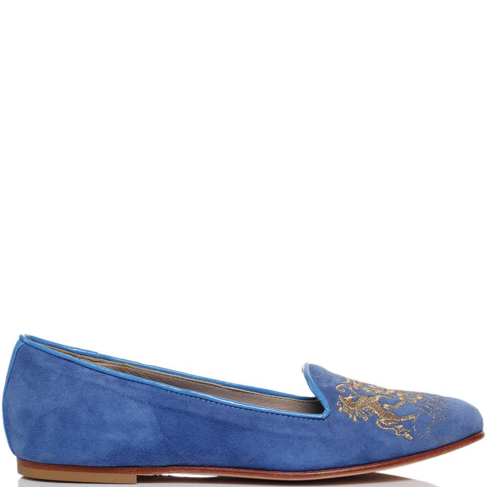 Замшевые лоферы голубого цвета Nila&Nila с фирменной вышивкой