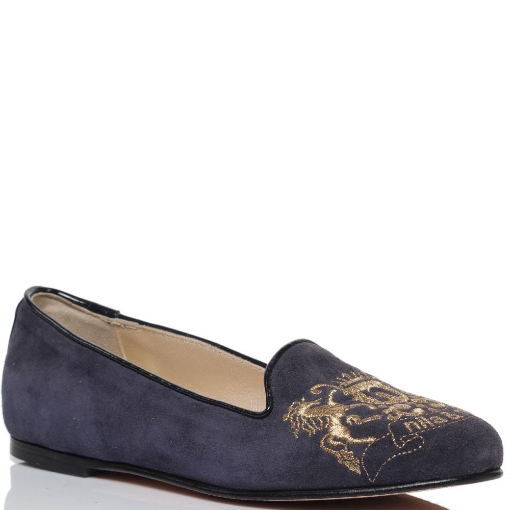 Замшевые лоферы синего цвета Nila&Nila с фирменной вышивкой