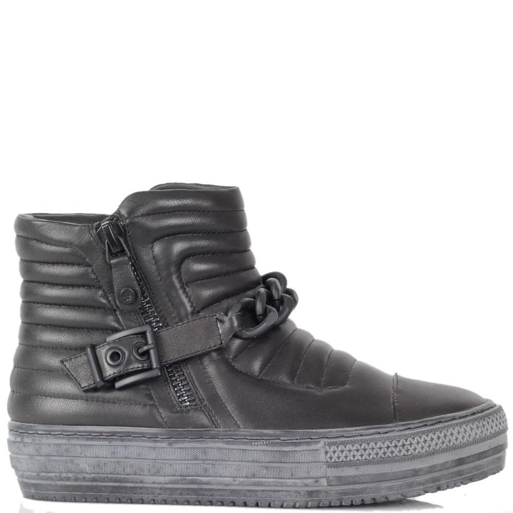 Ботинки Massimo Santini из кожи черного цвета на гранжевой подошве