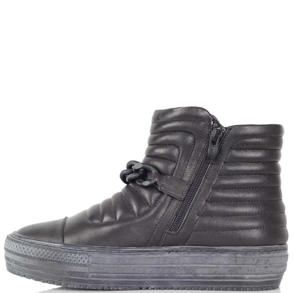 Ботинки Massimo Santini из натуральной кожи черного цвета на гранжевой подошве