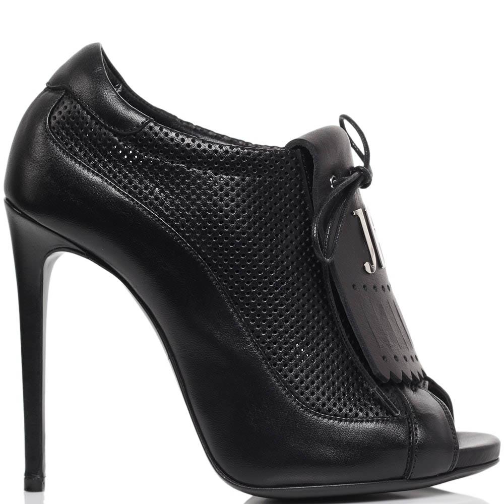 Шутис из перфорированной кожи черного цвета Richmond на высоком каблуке