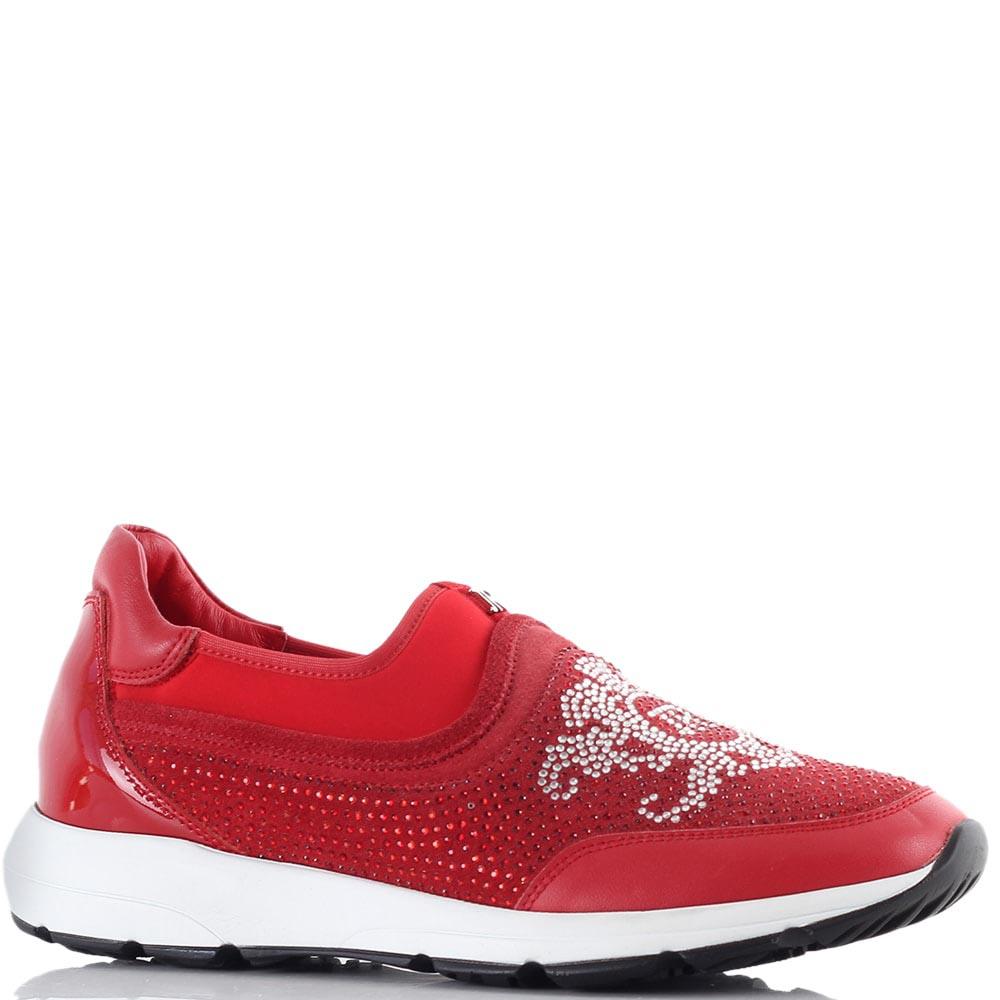 Красные кроссовки John Richmond без шнуровки со стразами