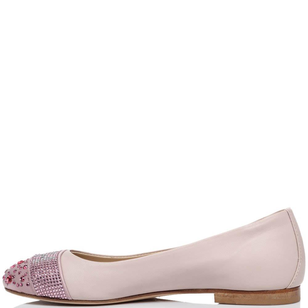 Балетки из кожи розового цвета Richmond с носочком из текстиля украшенным стразами